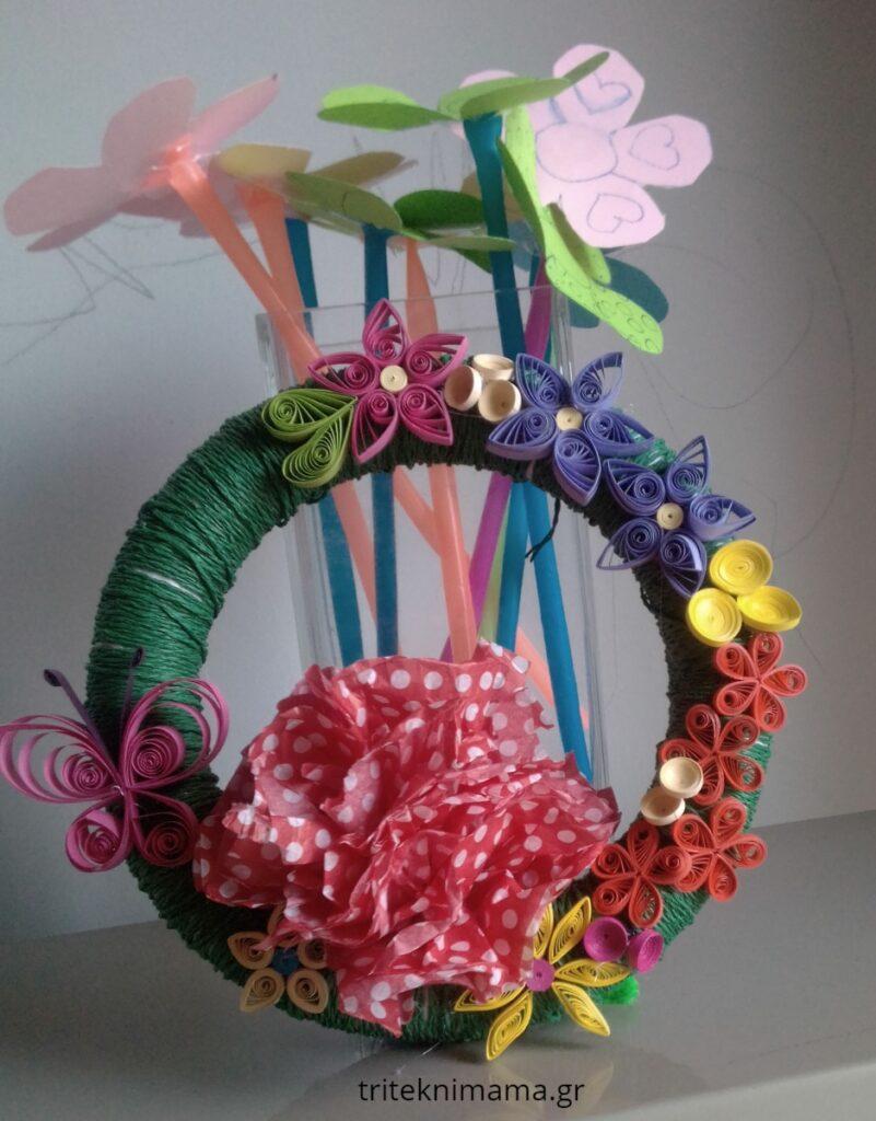 στεφανάκι με λουλούδια χαρτοπλεκτική (quilling)